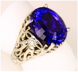 Oval tanzanite Designs with Central Solitaire