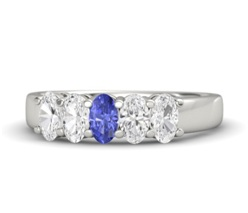 Diamond Stud Oval Tanzanite Ring